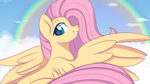 Size: 3840x2160 | Tagged: safe, artist:chickenbrony, fluttershy, pegasus, pony, cloud, female, gritted teeth, high res, looking at you, mare, outdoors, rainbow, sky background, smiling, solo, spread wings, wings