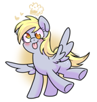 Size: 933x978 | Tagged: safe, artist:paperbagpony, derpy hooves, pegasus, pony, cute, derp, derpabetes, female, heart, mare, solo, spread wings, tongue out, wings