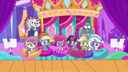 Size: 1920x1080 | Tagged: safe, screencap, applejack, echo (pony life), fluttershy, lightning chill, pinkie pie, rainbow dash, sugar snap, twilight sparkle, alicorn, bat, big cat, bird, earth pony, peacock, pegasus, tiger, my little pony: pony life, pony life, the rarest of occasions, spoiler:pony life s02e15, applejack's hat, cowboy hat, female, hanging, hanging upside down, hat, lying down, male, mare, open mouth, prone, sitting, spotlight, upside down, wild siders