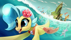 Size: 3020x1698 | Tagged: safe, artist:uzelok21, princess skystar, silverstream, terramar, hippogriff, seapony (g4), my little pony: the movie, blue eyes, clothes, cloud, commission, diving, dorsal fin, female, fin wings, fins, fish tail, flower, flower in hair, flying, freckles, glow, happy, jewelry, male, mount aris, necklace, ocean, open mouth, pearl necklace, see-through, sky, smiling, spread wings, swimming, tail, transformation, underwater, unnamed character, water, wings