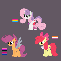 Size: 1102x1102 | Tagged: safe, artist:circuspaparazzi5678, apple bloom, scootaloo, sweetie belle, earth pony, pegasus, pony, unicorn, alternate universe, amputee, artificial wings, augmented, base used, base:selenaede, bisexual, bisexual pride flag, clothes, cutie mark crusaders, duskyverse, ear piercing, earring, female, genderfluid, genderfluid pride flag, headcanon, jewelry, lesbian, lesbian pride flag, metal wing, necklace, pansexual, pansexual pride flag, piercing, pride, pride flag, prosthetic limb, prosthetic wing, prosthetics, sexuality headcanon, socks, tongue out, tongue piercing, wings
