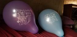 Size: 2048x996   Tagged: safe, artist:simeongutierre3, rainbow dash, twilight sparkle, balloon, irl, photo