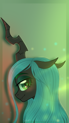 Size: 722x1280 | Tagged: safe, artist:77jessieponygames77, queen chrysalis, changeling, changeling queen, bust, female, floppy ears, heart eyes, lidded eyes, profile, solo, wingding eyes