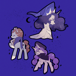 Size: 1066x1066 | Tagged: safe, artist:鳥居線, alicorn, earth pony, pony, unicorn, alchemist cookie, blue background, blueberry pie cookie, cookie run, female, glasses, hat, moonlight cookie, ponified, simple background