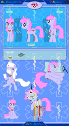 Size: 6751x12301   Tagged: safe, artist:kyoshyu, oc, oc:patsy patches, earth pony, pony, absurd resolution, butt, female, mare, mask, plot, reference sheet, solo, surgical mask