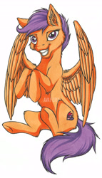Size: 4016x7014   Tagged: safe, artist:avafury, scootaloo, pegasus, pony, absurd resolution, grin, older, older scootaloo, simple background, smiling, solo, traditional art, white background