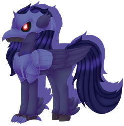 Size: 1920x1940 | Tagged: safe, artist:spokenmind93, oc, hippogriff, armor, chest plate, corviknight, cybernetic eyes, helmet, hippogriff oc, pokémon, ponymon, red eyes, solo