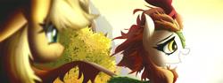 Size: 7000x2625   Tagged: safe, artist:astril, applejack, autumn blaze, earth pony, kirin, sounds of silence, film grain, smiley face