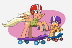 Size: 1500x1000 | Tagged: safe, artist:mew-me, mane allgood, scootaloo, pegasus, pony, abstract background, cute, cutealoo, female, grin, helmet, mother and child, mother and daughter, mother's day, open mouth, scooter, simple background, smiling