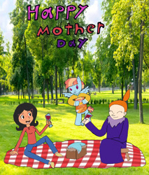 Size: 2325x2733 | Tagged: safe, wind whistler, bob's burgers, crossover, female, linda belcher, moomins, mother, mother's day, mymble, picnic