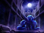 Size: 1024x768 | Tagged: safe, artist:novaintellus, princess luna, alicorn, pony, castle of the royal pony sisters, female, full moon, looking at you, mare, moon, night, rock, sky, solo, spread wings, wings
