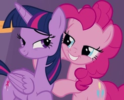 Size: 1201x971 | Tagged: safe, screencap, pinkie pie, twilight sparkle, alicorn, earth pony, pony, a trivial pursuit, cropped, duo, eye contact, female, hug, lidded eyes, looking at each other, mare, smiling, smirk, twilight sparkle (alicorn)