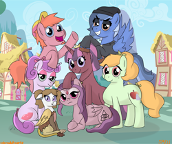 Size: 1192x999 | Tagged: safe, artist:colorcodetheartist, oc, oc:batter, oc:coy crispin, oc:dorothea, oc:kunzite, oc:liquid courage, oc:mystic magpie, oc:silver lining, draconequus, earth pony, pegasus, pony, unicorn, crossover ship offspring, draconequus oc, interspecies offspring, next generation, offspring, parent:applejack, parent:choromatsu matsuno, parent:fluttershy, parent:ichimatsu matsuno, parent:jyushimatsu matsuno, parent:karamatsu matsuno, parent:osomatsu matsuno, parent:pinkie pie, parent:rainbow dash, parent:rarity, parent:todomatsu matsuno, parent:twilight sparkle, parents:chorojack, parents:ichishy, parents:jyushipie, parents:karadash, parents:osotwi, parents:raritodo