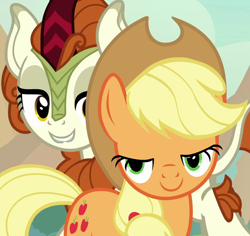 Size: 1144x1080 | Tagged: safe, screencap, applejack, autumn blaze, earth pony, kirin, pony, sounds of silence, cropped, duo, female, lidded eyes, lip bite, mare, mid-blink screencap, out of context, smiling