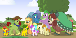 Size: 1920x967   Tagged: safe, artist:aleximusprime, artist:larsurus, applejack, pound cake, princess flurry heart, pumpkin cake, spike, tex, yona, oc, oc:annie smith, oc:apple chip, oc:storm streak, alicorn, dragon, earth pony, pegasus, unicorn, yak, flurry heart's story, bashful, bow, children, clothes, colt, colt pound cake, fat, fat spike, female, fields, filly, filly flurry heart, filly pumpkin cake, hat, kids, male, mare, offspring, older, older applejack, older flurry heart, older pound cake, older pumpkin cake, older spike, older yona, outdoors, parent:applejack, parent:oc:thunderhead, parent:rainbow dash, parent:tex, parents:canon x oc, parents:texjack, parents:thunderdash, scarf, shy, stallion, sweet apple acres, tree, twins, winged spike, wings