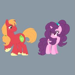 Size: 965x965 | Tagged: safe, artist:circuspaparazzi5678, big macintosh, sugar belle, earth pony, pony, unicorn, alternate hairstyle, base used, base:selenaede, duskyverse, ponytail