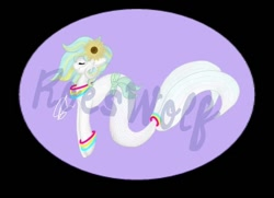 Size: 632x457 | Tagged: safe, artist:roeswolfcreations, oc, oc only, merpony, pony, bracelet, eyes closed, flower, flower in hair, jewelry, solo