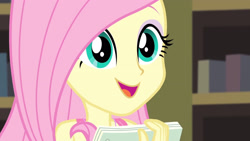 Size: 3410x1920   Tagged: safe, screencap, fluttershy, equestria girls, equestria girls series, fluttershy's butterflies, book, close-up, cute, female, fluttershy's butterflies: dj pon-3, high res, jewelry, library, necklace, open mouth, shyabetes, smiling, solo