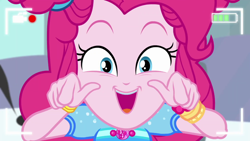 Size: 1920x1080 | Tagged: safe, screencap, pinkie pie, equestria girls, equestria girls series, five lines you need to stand in, spoiler:eqg series (season 2), breasts, busty pinkie pie, looking at camera, open mouth, pinkie pie is best facemaker, solo