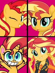 Size: 1717x2284 | Tagged: safe, artist:keronianniroro, artist:orin331, sunset shimmer, pony, unicorn, equestria girls, equestria girls series, my little pony: pony life, my little pony: the movie, pony life, :p, bipedal, cute, female, g4 to g4.5, geode of empathy, grin, magical geodes, mare, movie accurate, one eye closed, ponified, shimmerbetes, smiling, tongue out, wink
