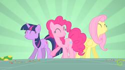 Size: 1280x720   Tagged: safe, screencap, fluttershy, pinkie pie, twilight sparkle, earth pony, pegasus, unicorn, party of one, season 1, dancing, eyes closed, female, mare, trio, unicorn twilight