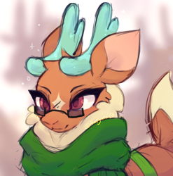 Size: 1512x1529   Tagged: safe, artist:hootymoo13, cashmere (tfh), deer, reindeer, them's fightin' herds, clothes, coat markings, community related, facial markings, glasses, scarf, solo, star (coat marking)