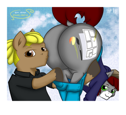 Size: 8105x7349 | Tagged: safe, artist:khaki-cap, oc, oc only, oc:heavy jack, oc:khaki-cap, earth pony, pony, absurd resolution, bad anatomy, butt, cap, cheek kiss, clothes, commissioner:buffaloman20, cutie mark, dock, earth pony oc, grope, hat, holding a pony, hoodie, jeans, kiss my ass, kissing, large butt, looking at you, male, pants, pants down, photobooth, pony oc, presenting, raised tail, rear view, stallion, tail, thicc ass