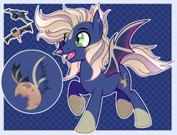 Size: 3088x2349 | Tagged: safe, artist:camikamen, oc, oc only, oc:phantom, bat pony, pony, male, solo, stallion