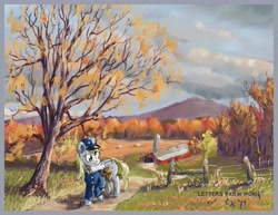 Size: 3300x2550 | Tagged: safe, artist:clarkeotterton, derpy hooves, pegasus, pony, bag, letter, mailbag, mailmare, mouth hold, road, saddle bag, scenery, solo, tree