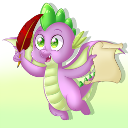 Size: 2000x2000 | Tagged: safe, artist:sweet-shroom, spike, dragon, cute, flying, gradient background, happy, male, parchment, quill, smiling, solo, spikabetes