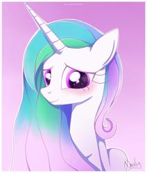 Size: 1667x1970   Tagged: safe, artist:nnaly, princess celestia, alicorn, pony, blushing, female, gradient background, smiling, solo