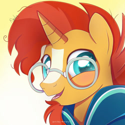 Size: 1024x1024 | Tagged: safe, artist:nnaly, sunburst, pony, unicorn, blaze (coat marking), bust, cloak, clothes, coat markings, colored pupils, cute, facial markings, glasses, gradient background, happy, horn, looking at you, male, open mouth, open smile, portrait, smiling, solo, stallion, starry eyes, sunbetes, sunburst's cloak, sunburst's glasses, wingding eyes