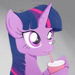 Size: 1024x1024 | Tagged: safe, artist:nnaly, twilight sparkle, pony, drinking, female, gradient background, solo, straw