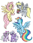 Size: 1150x1474 | Tagged: safe, artist:king-kakapo, cloudchaser, derpy hooves, flitter, fluttershy, rainbow dash, pegasus, pony, flying, looking at you, present, ribbon, sketch, spread wings, unshorn fetlocks, wings