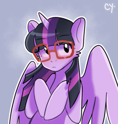 Size: 525x549   Tagged: safe, artist:cyanesk, twilight sparkle, alicorn, pony, bust, cheek fluff, cute, eye clipping through hair, eyebrows, eyebrows visible through hair, eyelashes, female, glasses, looking at you, mare, simple background, solo, twiabetes, twilight sparkle (alicorn), watermark