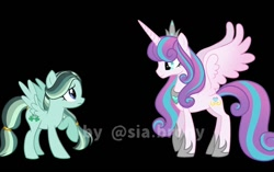 Size: 1080x679 | Tagged: safe, alternate version, artist:sia.brony, princess flurry heart, oc, oc:clover, alicorn, pegasus, pony, the last problem, to where and back again, black background, duo, duo female, female, hoof shoes, horn, jewelry, mare, older, older flurry heart, pegasus oc, peytral, raised hoof, simple background, smiling, tiara, wings, worried