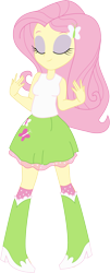 Size: 1211x2996   Tagged: safe, artist:marcorulezzz, fluttershy, equestria girls, clothes, cutie mark, cutie mark on clothes, eyes closed, female, simple background, skirt, smiling, solo, tanktop, transparent background