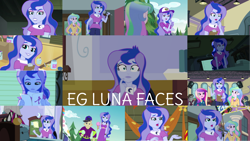 Size: 1280x721   Tagged: safe, edit, edited screencap, editor:quoterific, screencap, bon bon, cranky doodle donkey, dean cadance, jet set, photo finish, princess cadance, princess celestia, princess luna, principal celestia, sunset shimmer, sweetie drops, vice principal luna, a banner day, equestria girls, equestria girls (movie), equestria girls series, friendship games, photo finished, the road less scheduled, spoiler:eqg series (season 2), bracelet, brooch, camp everfree logo, camp everfree outfits, canterlot high, clipboard, clothes, cute, cutie mark, cutie mark accessory, cutie mark brooch, cutie mark on clothes, female, food, ice cream, jewelry, luna is not amused, lunabetes, male, microphone, microphone stand, music festival outfit, offscreen character, open mouth, unamused, watch, wristwatch