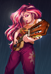 Size: 1309x1907 | Tagged: safe, artist:mandy1412, sunset shimmer, equestria girls, equestria girls series, let it rain, spoiler:eqg series (season 2), acoustic guitar, clothes, cutie mark, cutie mark on clothes, eyes closed, eyeshadow, female, guitar, human coloration, lipstick, makeup, musical instrument, open mouth, pants, playing, rain, sleeveless, solo