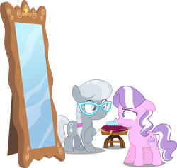 Size: 3161x3000 | Tagged: safe, artist:brony-works, artist:grievousfan, artist:jeatz-axl, artist:misteraibo, artist:parclytaxel, edit, editor:slayerbvc, vector edit, diamond tiara, silver spoon, earth pony, pony, cushion, duo, duo female, female, filly, floppy ears, freckles, glasses, jewelry, lip bite, mirror, missing accessory, necklace, pearl necklace, raised hoof, simple background, stool, tiara, transparent background, vector, wide eyes