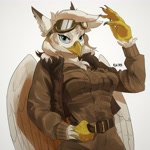 Size: 3082x3082 | Tagged: safe, artist:cadillacdynamite, oc, oc only, griffon, anthro, anthro oc, belt, female, goggles, griffon oc, high res, looking at you, simple background, solo