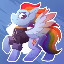Size: 1600x1600   Tagged: safe, artist:aphelionmars, rainbow dash, pegasus, pony, the last problem, blue background, clothes, colored wings, digital art, female, jacket, mare, multicolored mane, multicolored wings, older, older rainbow dash, profile, raised hoof, shading, short mane, signature, simple background, smiling, solo, standing, sweater, texture, turtleneck, wings