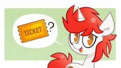 Size: 1920x1080 | Tagged: safe, artist:ponyconholland, artist:spacekitsch, oc, oc:stroopwafeltje, unicorn, solo, ticket