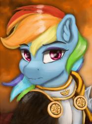 Size: 724x974 | Tagged: safe, artist:tekggd, rainbow dash, pony, equestria at war mod, armor, bust, female, mare, portrait, solar empire, solo