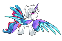 Size: 1280x854 | Tagged: safe, artist:renhorse, oc, oc:snow opal, alicorn, pony, colored wings, male, multicolored wings, simple background, solo, stallion, transparent background, wings