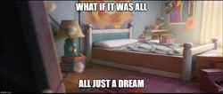 Size: 1177x500 | Tagged: safe, edit, edited screencap, screencap, applejack, fluttershy, pinkie pie, rainbow dash, rarity, twilight sparkle, alicorn, earth pony, pegasus, pony, unicorn, g5, bed, bedroom, book, caption, figurine, lamp, mane six, meme, no pony, poster, text, twilight sparkle (alicorn)