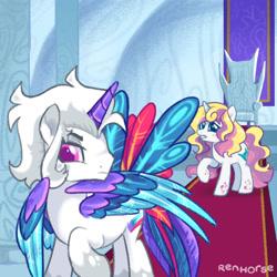 Size: 1280x1280 | Tagged: safe, artist:renhorse, oc, oc only, oc:snow opal, oc:star sorceress, alicorn, pony, unicorn, female, male, mare, simple background, stallion, transparent background