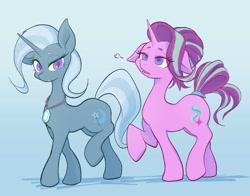 Size: 2176x1709 | Tagged: safe, artist:noupu, starlight glimmer, trixie, pony, unicorn, alternate hairstyle