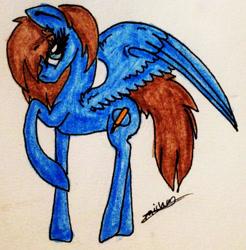 Size: 1302x1323   Tagged: safe, artist:beamybutt, oc, oc only, pegasus, pony, eyelashes, female, mare, pegasus oc, raised hoof, signature, solo, traditional art, wings