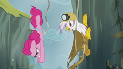 Size: 1920x1080 | Tagged: safe, screencap, gilda, pinkie pie, earth pony, griffon, the lost treasure of griffonstone, diving, duo, female, mare